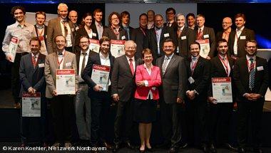 Team von White Pony bei der Prämierung des Businessplan-Wettbewerb Nordbayern